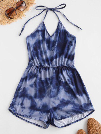 Halter Elastic Waist Tie Dye Romper - Multi-a S