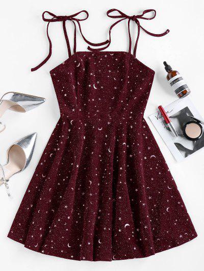 ZAFUL Moon Stars Print Tie Shoulder Dress - Deep Red M