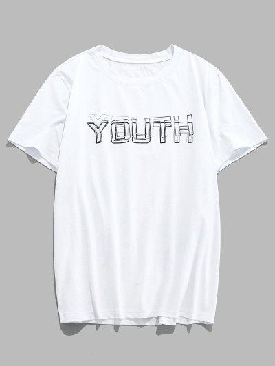 ZAFUL Youth Print Graphic Basic T-shirt - White S
