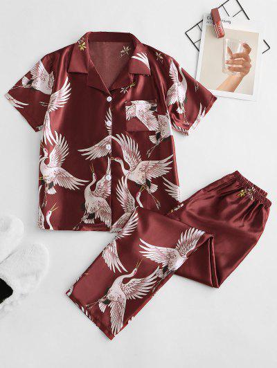 Conjunto De Pijama Sedoso Con Bolsillo Y Estampado De Grúa - Rojo L