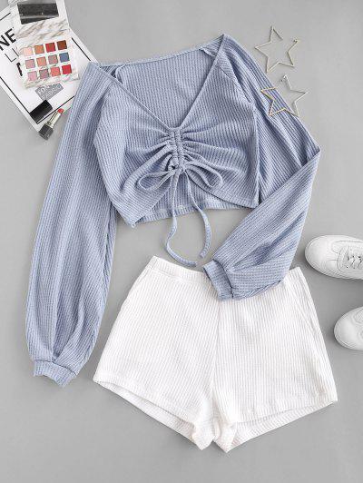 Colorblock Textured Cinched Raglan Sleeve Pocket Shorts Set - Pastel Blue L