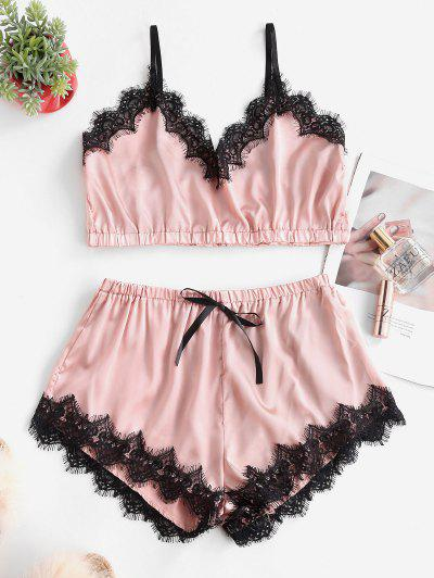 Bowknot Eyelash Lace Trim Satin Pajama Set - Pink S