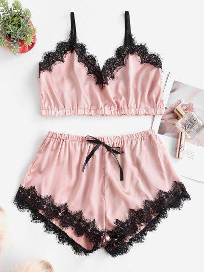 Bowknot Eyelash Lace Trim Satin Pajama Set - Pink M