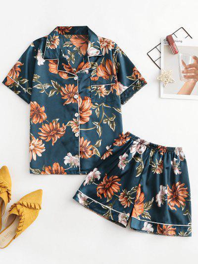 One Pocket Satin Floral Short Pajama Set - Medium Forest Green Xl