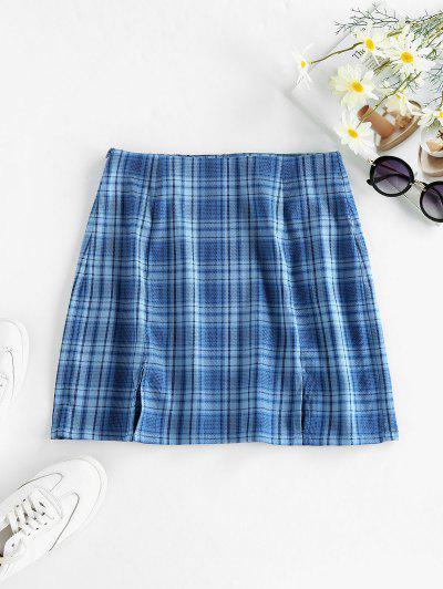 ZAFUL Slit Plaid Mini Skirt - Silk Blue M