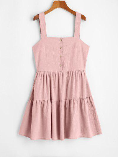 ZAFUL Casual Half Buttoned Straps Mini Dress - Light Pink S