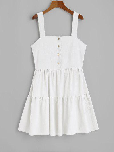 ZAFUL Casual Half Buttoned Straps Mini Dress - White S