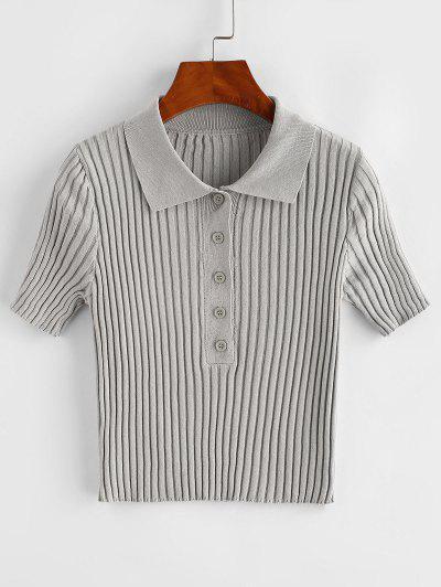 Camiseta Acanalada Con Manga Larga - Gris