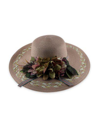 Wide Brimmed Flowers Straw Hat - Pink