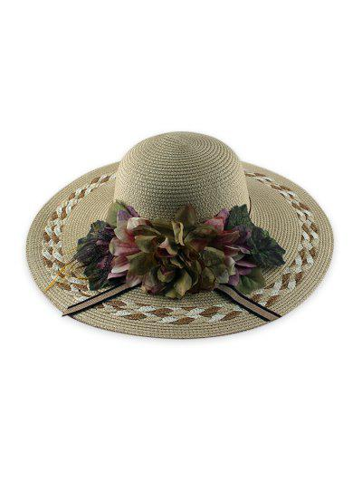 Wide Brimmed Flowers Straw Hat - Beige