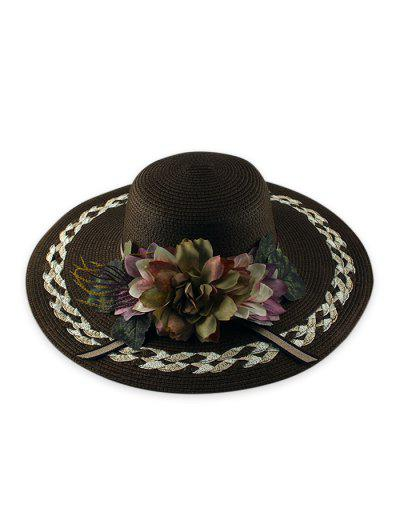 Wide Brimmed Flowers Straw Hat - Brown
