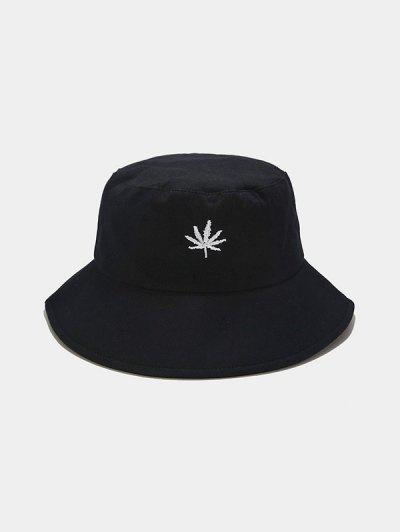 Maple Leaf Embroidered Bucket Hat - Black