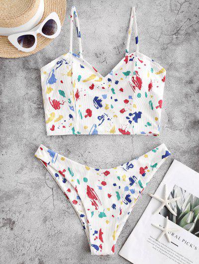 ZAFUL Paint Splatter Ribbed Tankini Swimwear - Multi-a Xl