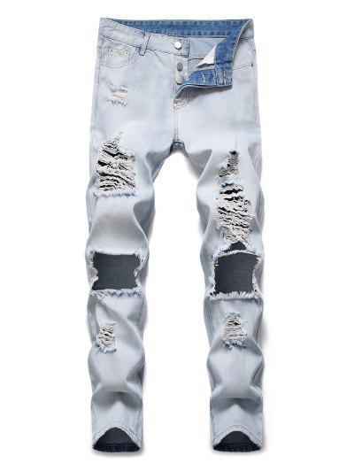 Zerstörte Loch Dekoration Knopf Fliege Jeans - Jeans Blau 32