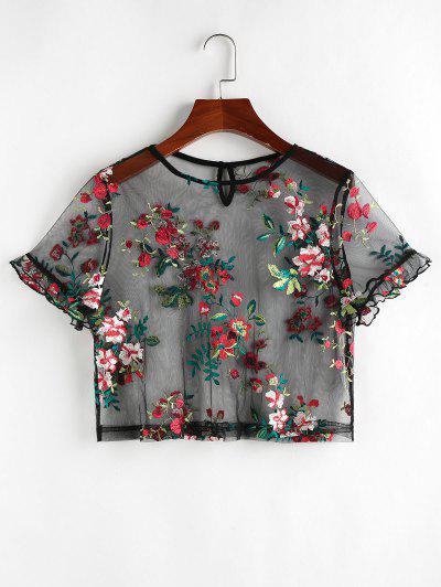 ZAFUL Flower Embroidered Lace Ruffle T-shirt - Black M