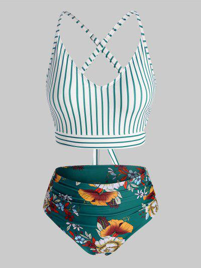ZAFUL Plus Size Striped Flower Criss Cross Tummy Control Tankini Swimwear - Multi-a Xl