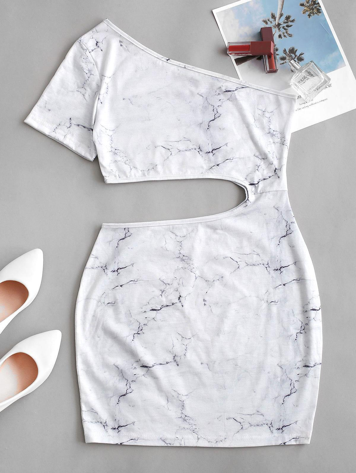 ZAFUL One Shoulder Cut Out Marble Print Bodycon Dress