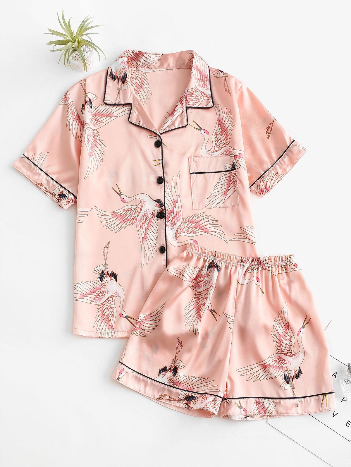 Flying Cranes Print Stain Pajama Shorts Set