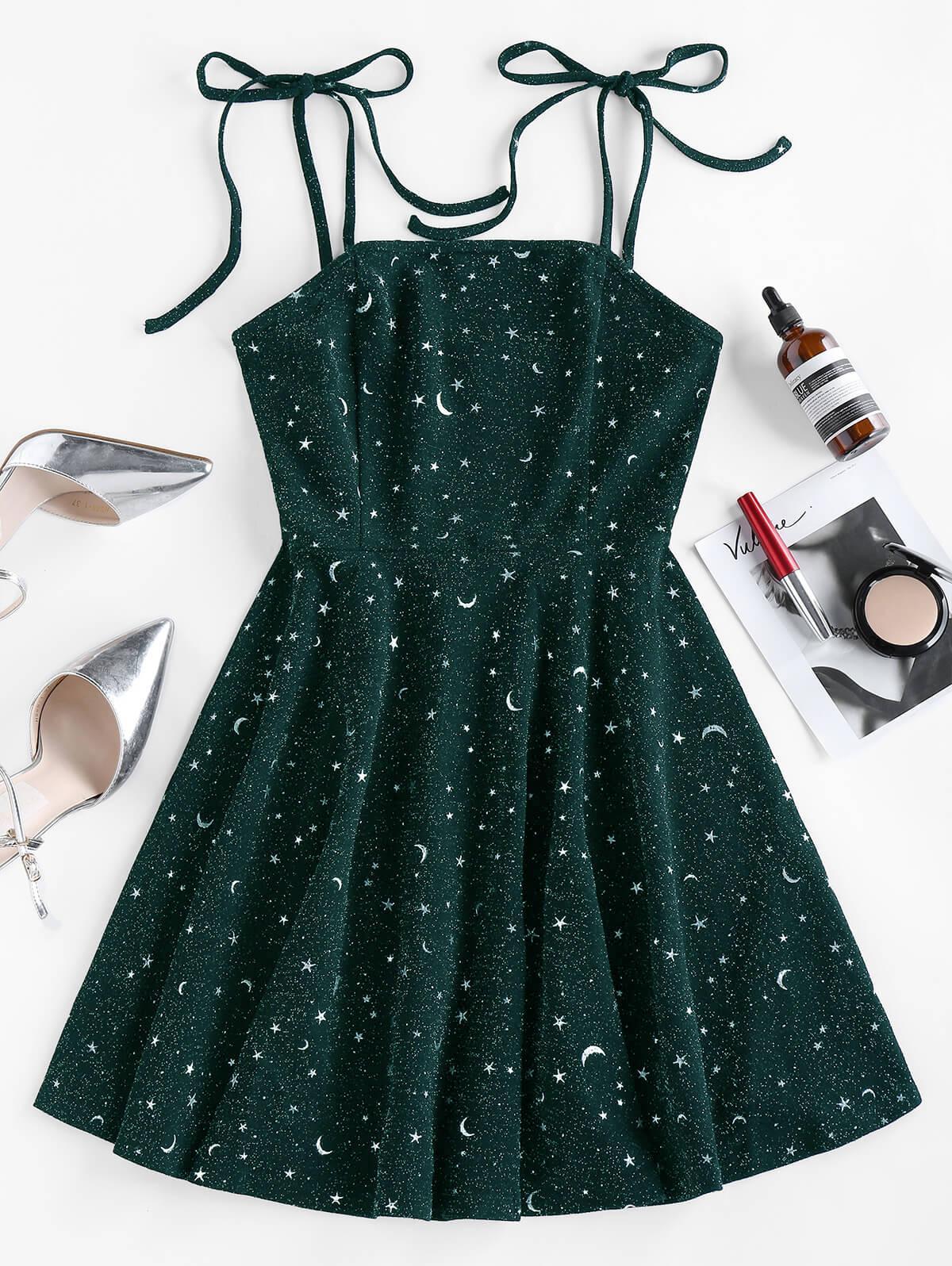 ZAFUL Moon Stars Print Tie Shoulder Dress