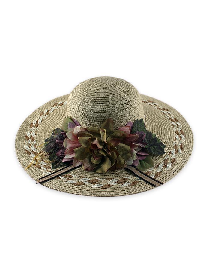 Wide Brimmed Flowers Straw Hat