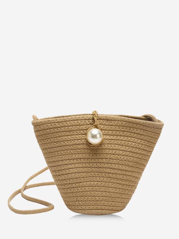 Faux Pearl Straw Crossbody Bag thumbnail