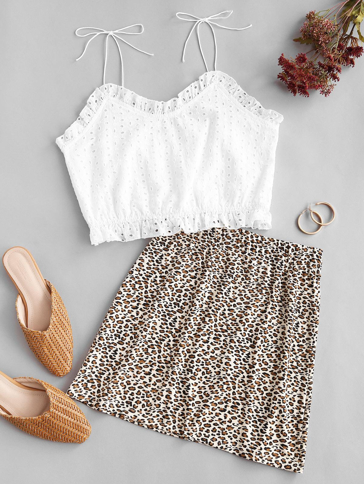 Frilled Broderie Anglaise Leopard Two Piece Dress