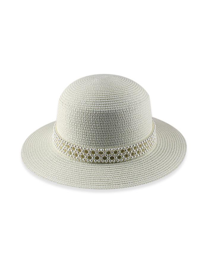 Faux Pearl Beach Straw Hat