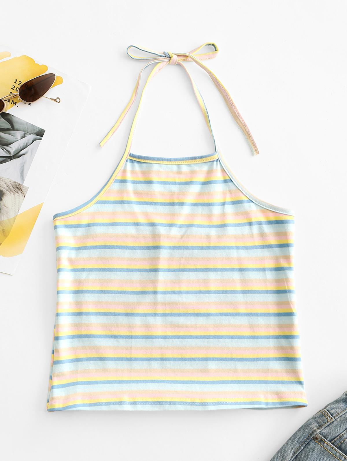 Halter Colorful Stripes Tank Top