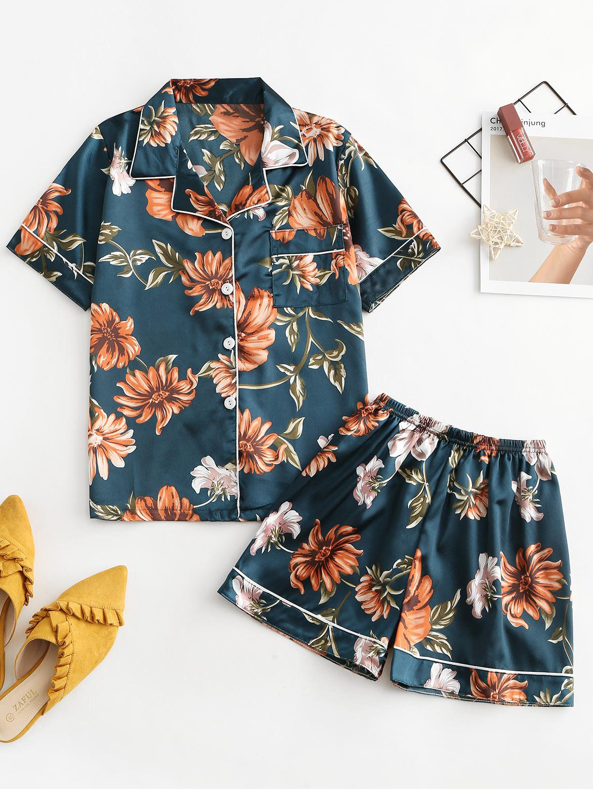 One Pocket Satin Floral Short Pajama Set