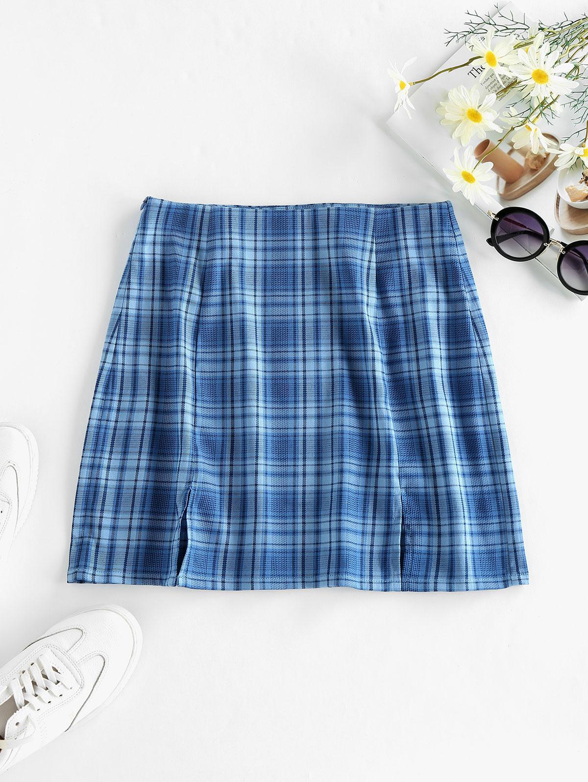 ZAFUL Slit Plaid Mini Skirt