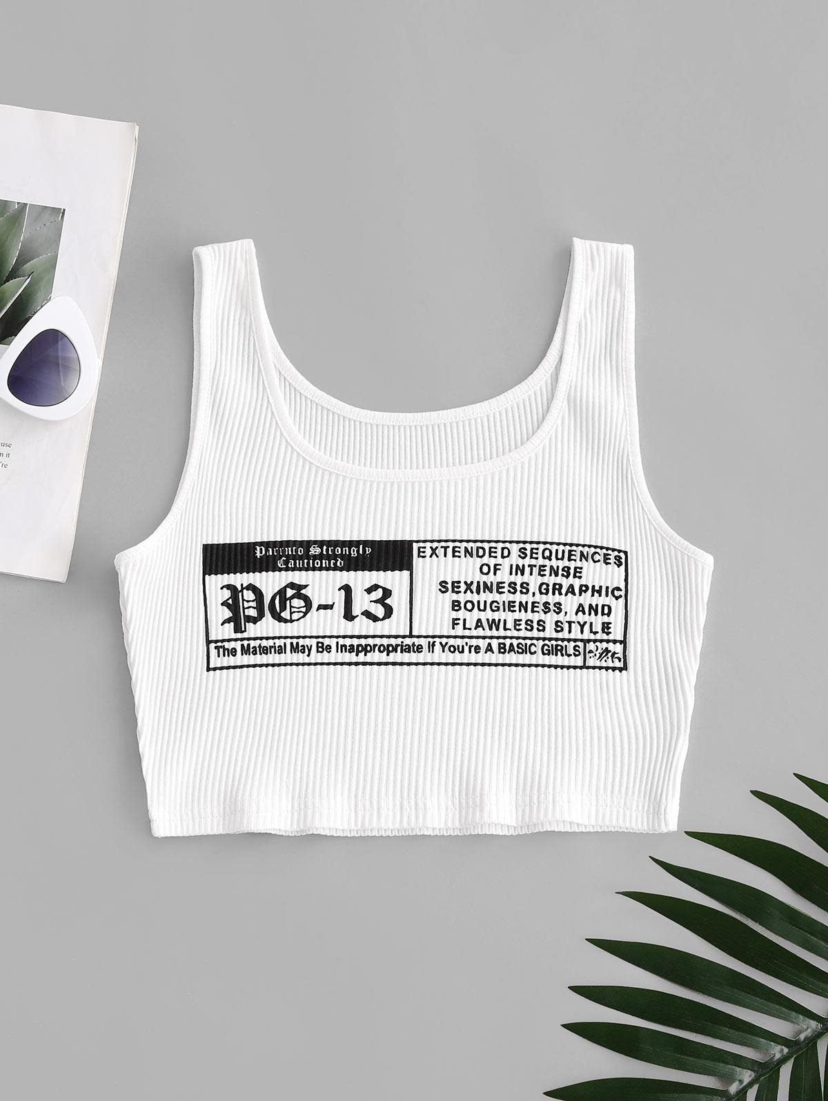 Letter Graphic Ribbed Tank Top