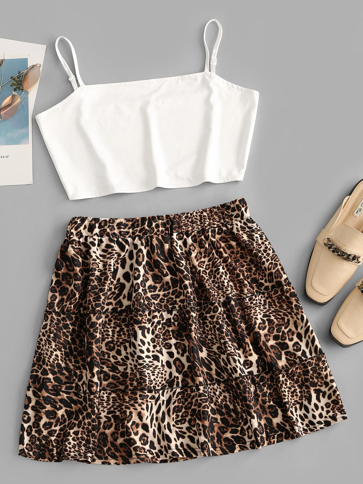 Contrast Cropped Leopard Two Piece Dress