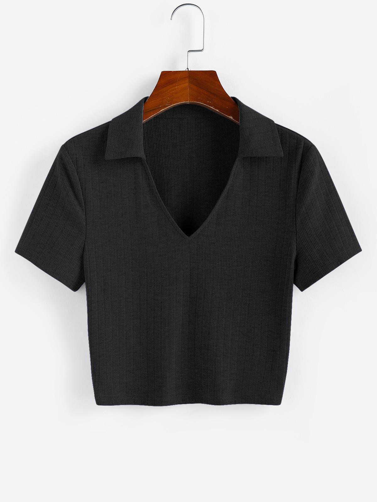 ZAFUL Ribbed V Notched Crop T-shirt