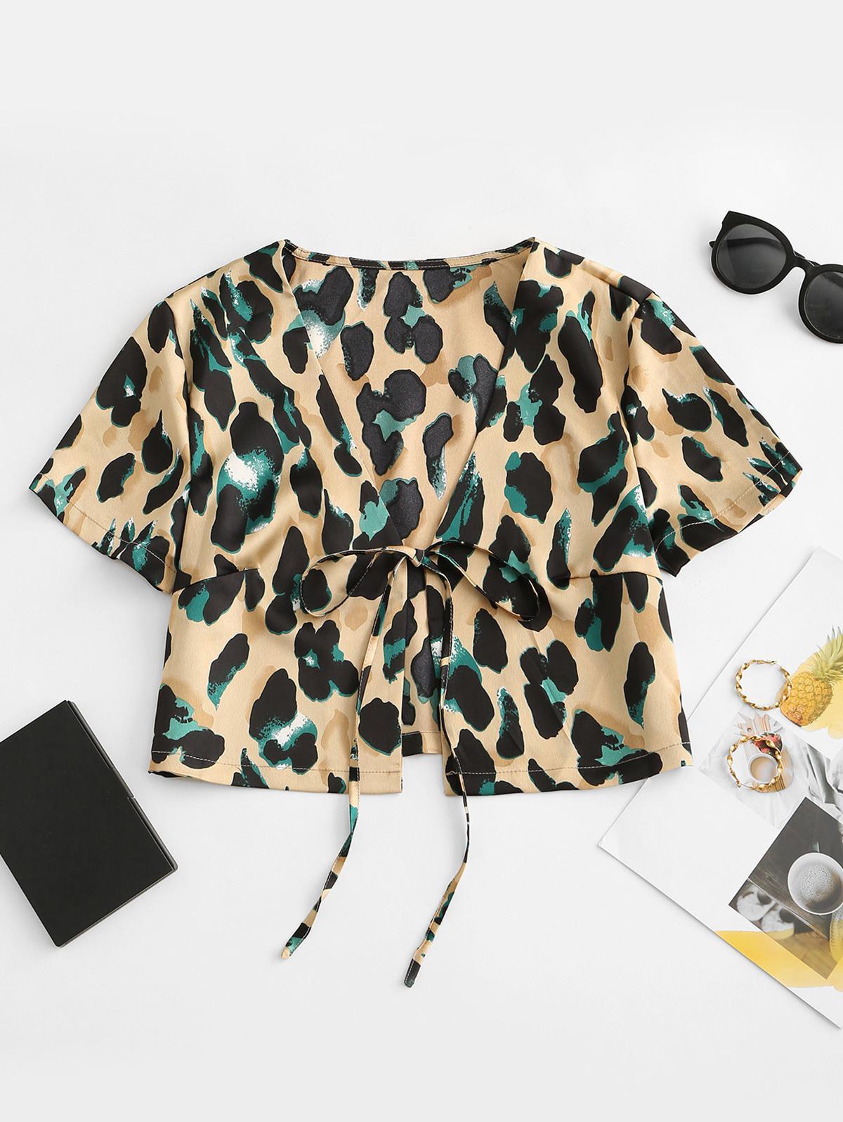 Leopard Print Tied Crop Blouse