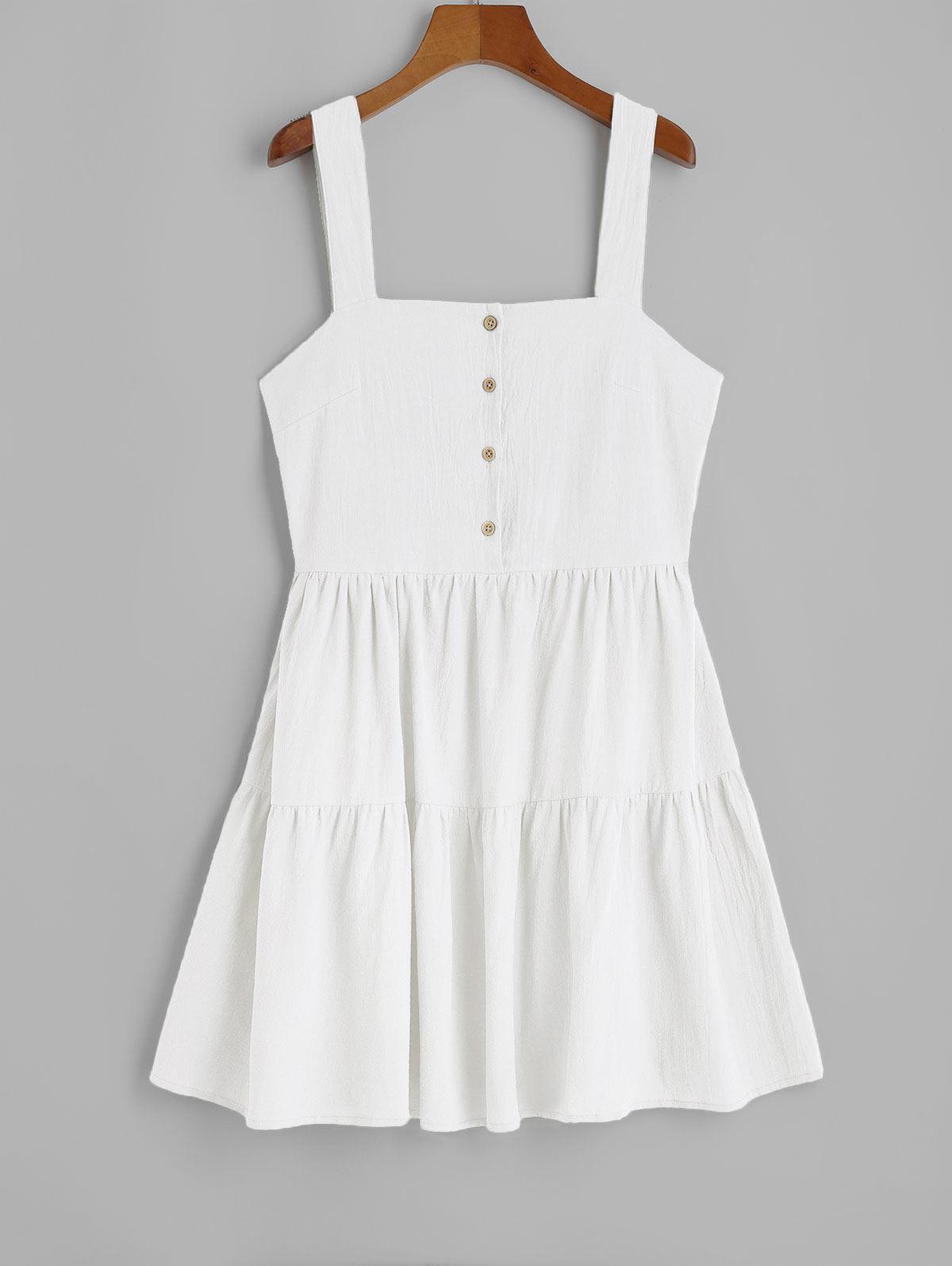 ZAFUL Casual Half Buttoned Straps Mini Dress