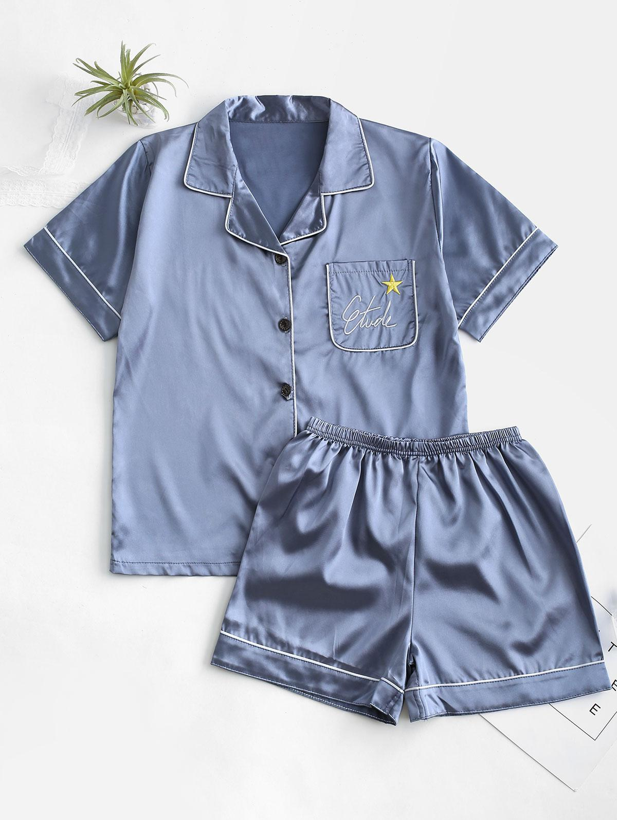 Satin Letters Star Embroidered Short Pajama Set
