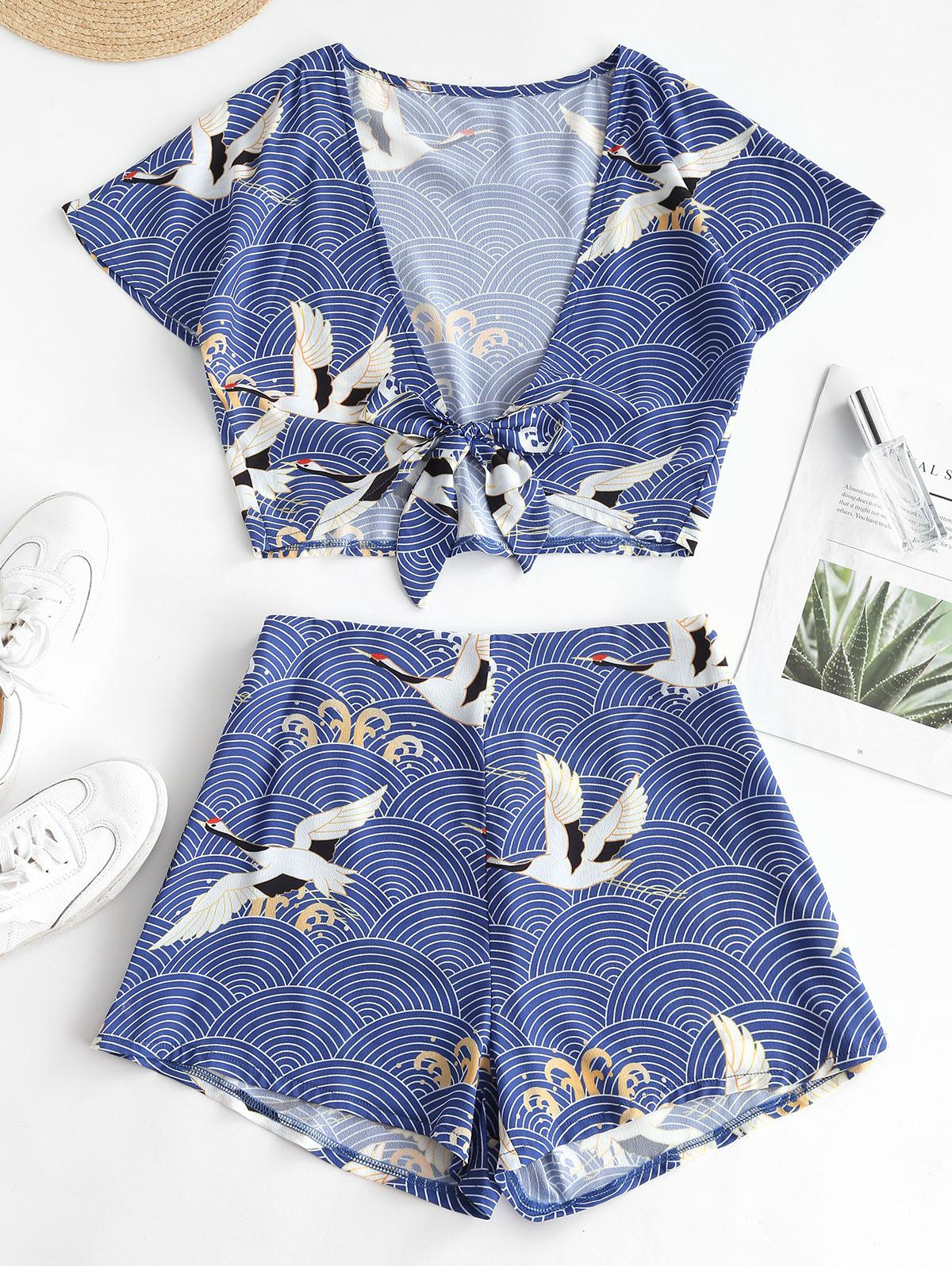 ZAFUL Tie Front Cropped Crane Printed Two Piece Set