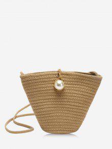 Straw Faux Pearl Crossbody Bag
