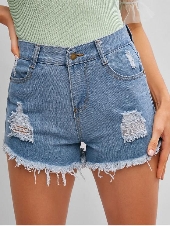 shop Frayed Hem Ripped Denim Cutoff Shorts - JEANS BLUE M