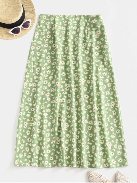 sale Daisy Flower Midi A Line Casual Skirt - GREEN M