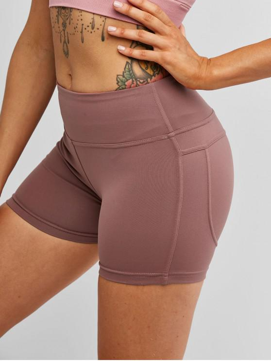 chic Stitching Running Sports Biker Shorts - ROSY BROWN L