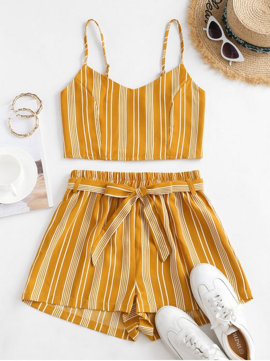 fancy Striped Smocked Co Ord Set - YELLOW S