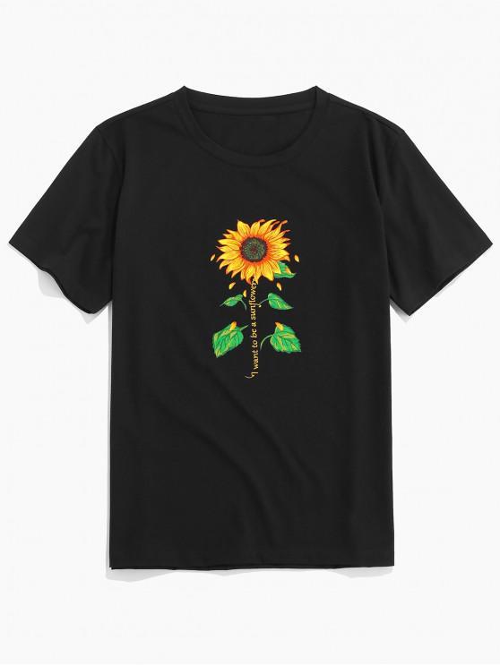online ZAFUL Sunflower Letter Print Short Sleeves T-shirt - BLACK 2XL