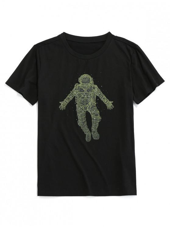 ZAFUL Digital Astronaut Print Basic T-shirt - أسود S
