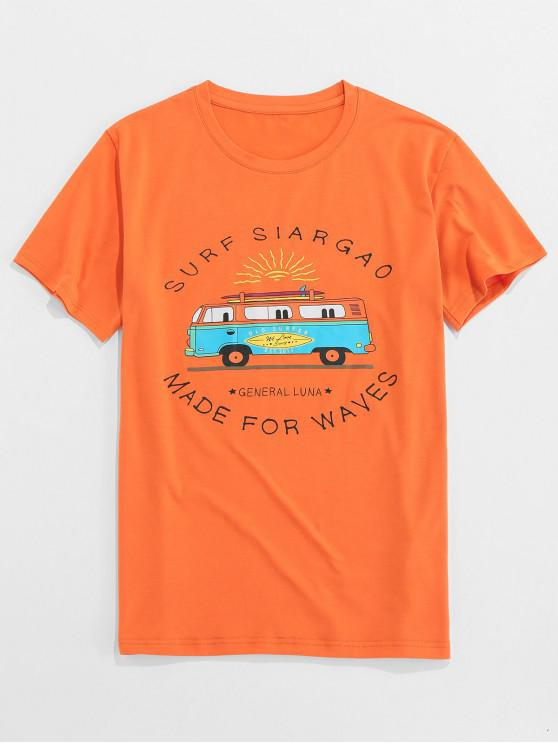 ZAFUL Letter Bus Print Short Sleeves T-shirt - البرتقالي S