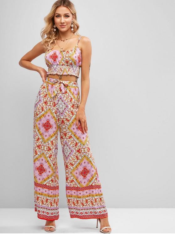 lady Smocked Back Belted Bohemian Printed Two Piece Set - MULTI-C L