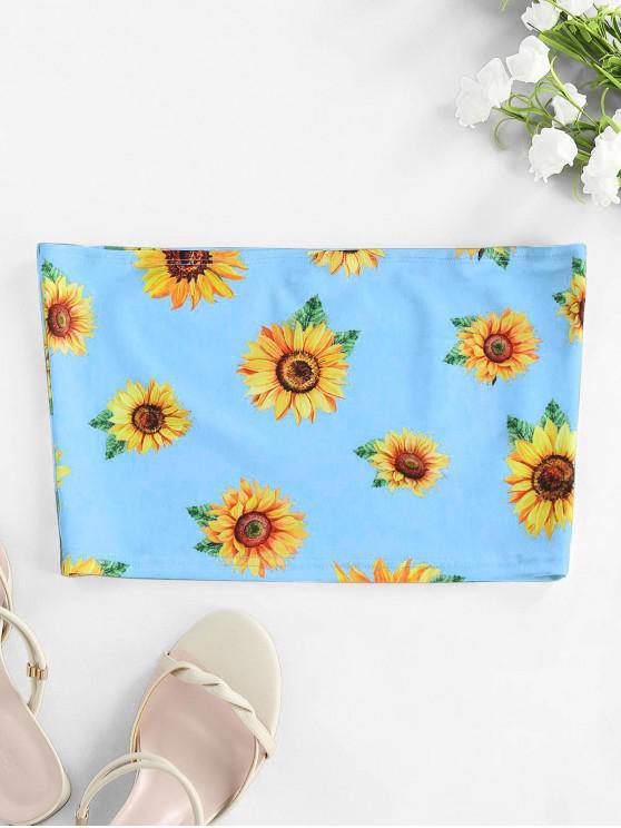 chic ZAFUL  Strapless Sunflower Print Crop Top - LIGHT BLUE M