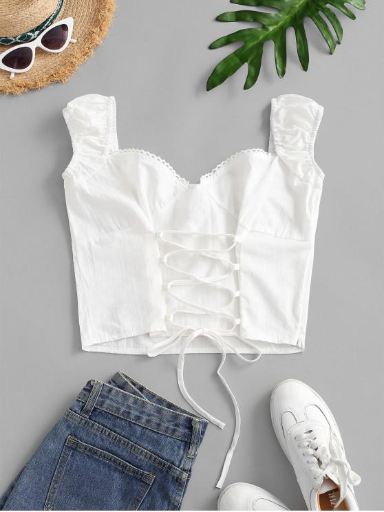 lady Lace Up Sweetheart Crop Blouse - WHITE L
