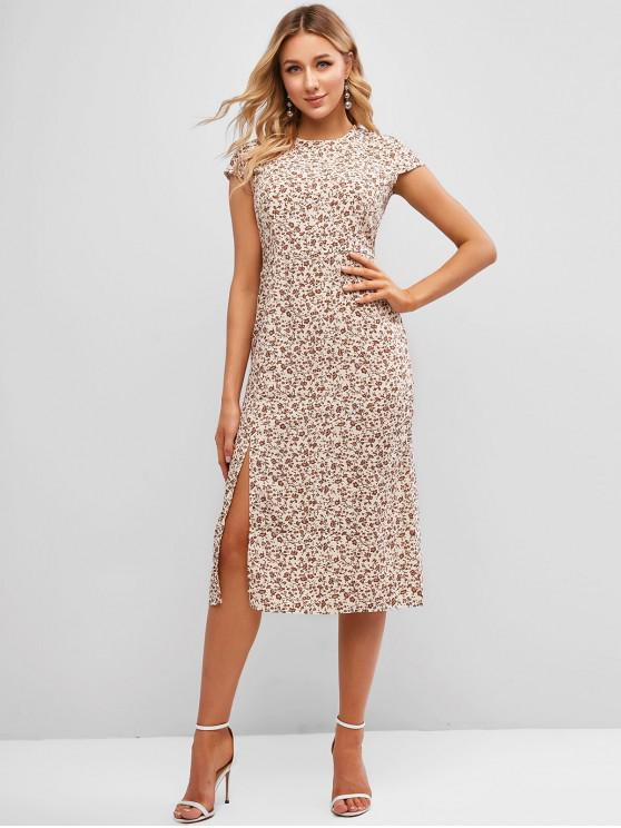 chic Cap Sleeve Ditsy Floral Slit Midi Dress - MULTI-B S