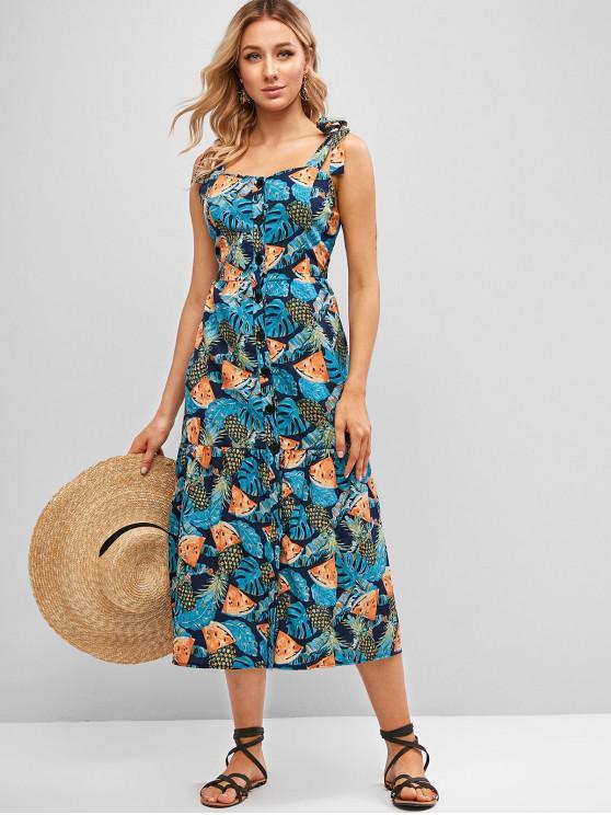 Vestido de Impressão de Abacaxi com Botão e Amarra Frontal - Multi-A L